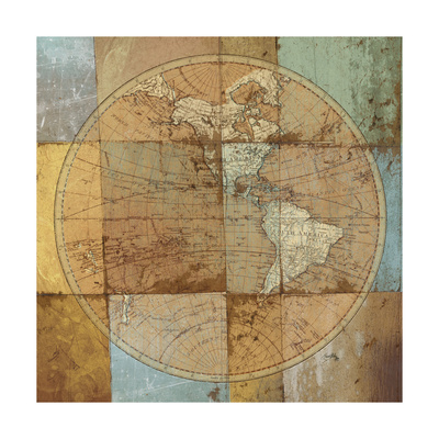Single Map Premium Giclee Print by Elizabeth Medley