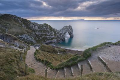 Winding Coastpath Steps Leading Down to Durdle Door on the Jurassic Coast, Dorset, England Photographic Print by Adam Burton