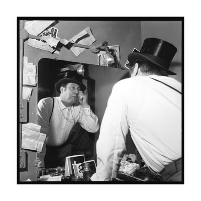 Raymond Devos Watching Himself in a Mirror Photographic Print by Thérese Begoin
