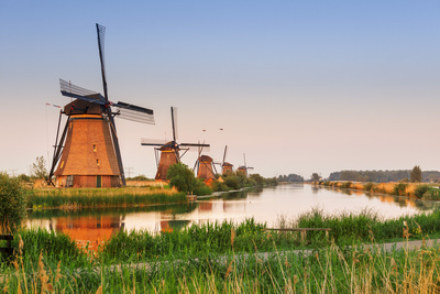 Netherlands, South Holland, Kinderdijk. Windmills Photographic Print by Francesco Iacobelli