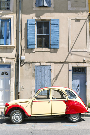 France, Provence Alps Cote D'Azur, Saint Remy De Provence. Street View with Old Fashioned 2Cv Car Photographic Print by Matteo Colombo