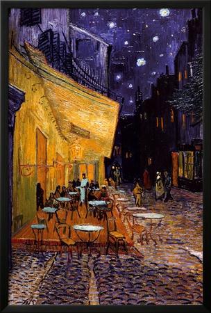 La terraza del Café de la Place du Forum, Arlés, de noche, c.1888 Póster enmarcado con Lamina