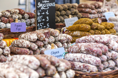 France, Provence Alps Cote D'Azur, Haute Provence, Forcalquier. Salami for Sale at Local Market Photographic Print by Matteo Colombo
