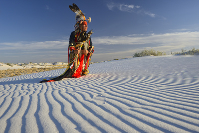 Native American in Full Regalia, White Sands National Monument, New Mexico, USA Mr Photographic Print by Alex Heeb