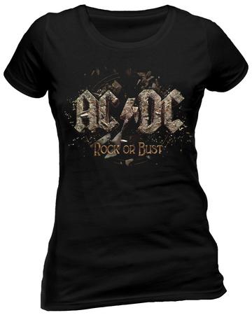 Juniors: AC/DC - Rock Or Bust T-shirt til damer (tætsiddende)