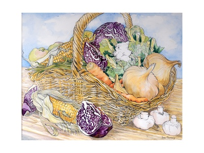 Vegetables in a Basket, 2012 Giclee Print by Joan Thewsey
