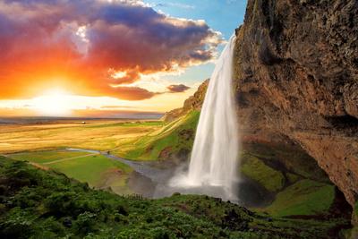 Waterfall, Iceland - Seljalandsfoss Photographic Print by  TTstudio