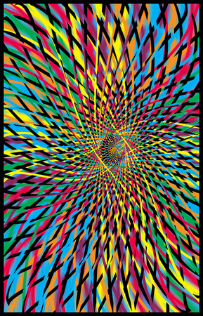 Andromedia trippy psychedelic blacklight poster; fractal colors of red, blue, green and purple.