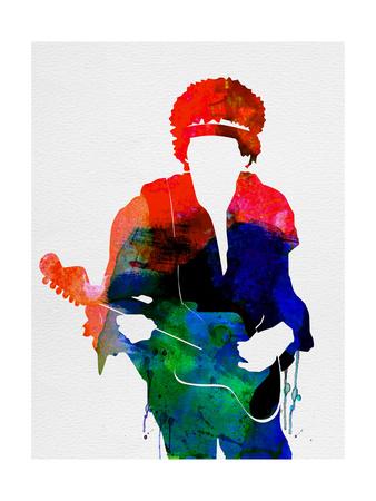 Jimi Watercolor Metal Print by Lora Feldman
