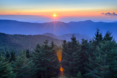 Blue Ridge Parkway Autumn Sunset over Appalachian Mountains Photographic Print by  digidreamgrafix