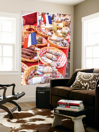 France, Provence Alps Cote D'Azur, Aix En Provence. Salami and Cheese for Sale at Local Market Wall Mural by Matteo Colombo
