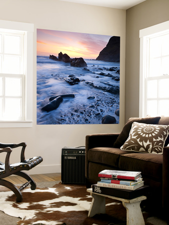 High Tide on Duckpool Beach at Sunset, North Cornwall, England. Spring Wall Mural by Adam Burton