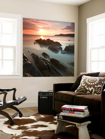 Sunset on Barricane Beach, Woolacombe, Devon, England. Summer Wall Mural by Adam Burton
