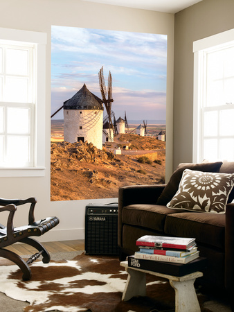 Spain, Castile–La Mancha, Consuegra. Famous Windmills Wall Mural by Matteo Colombo
