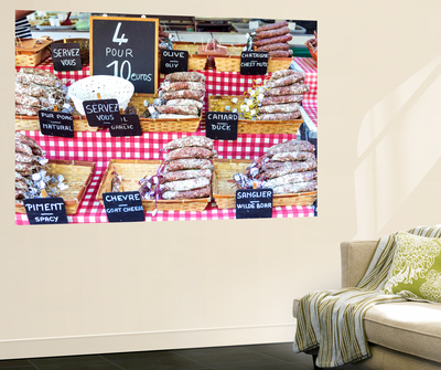 France, Provence Alps Cote D'Azur, Aix En Provence. Salami for Sale at Local Market Wall Mural by Matteo Colombo