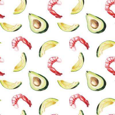 Watercolor Avocado and Shrimp Pattern Prints by  lenavetka87