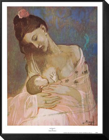 Maternidad Lámina montada y enmarcada por Pablo Picasso