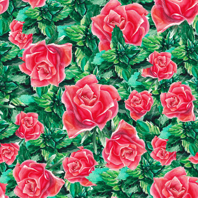 Watercolor Rose and Leafs Pattern Prints by  lenavetka87
