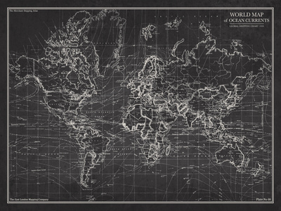 Ocean Current Map - Global Shipping Chart Prints by  The Vintage Collection