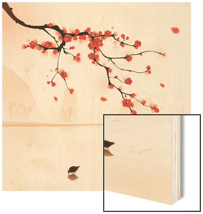 Oriental Style Painting, Plum Blossom In Spring Wood Print by  ori-artiste