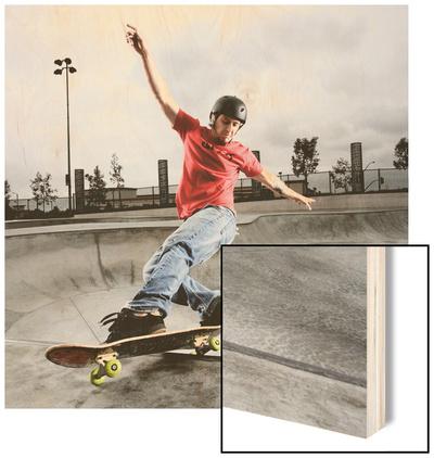 Skateboarder Performing Tricks Wood Print