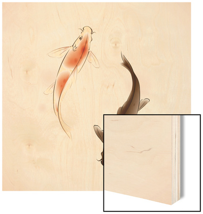 Yin Yang Koi Fishes In Oriental Style Painting Wood Print by  ori-artiste