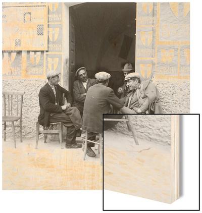 Men in Conversation in Accettura Wood Print