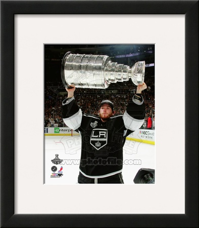 Jonathan Quick with the Stanley Cup Trophy after Winning Game 6 of the 2012 Stanley Cup Finals Framed Photographic Print