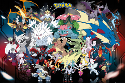 Pokemon merchandise Poster Mega Character lineup heroes and villains