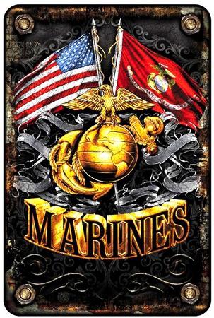 Marines Flags Tin Sign