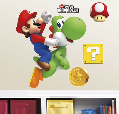 Yoshi and Mario Peel & Stick Giant Wall Decals Muursticker