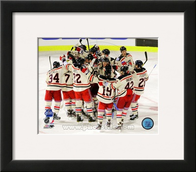 The New York Rangers Celebrate Winning the 2012 NHL Winter Classic Framed Photographic Print