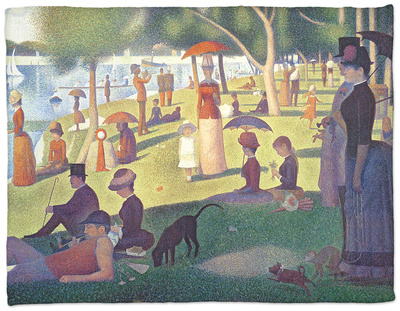 A Sunday on La Grande Jatte 1884, 1884-86 Fleece Blanket by Georges Seurat