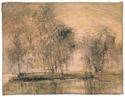 Willows in Morning Wind Fleece Blanket by Wanqi Zhang