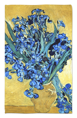 Vase of Irises Against a Yellow Background, c.1890 Rug by Vincent van Gogh