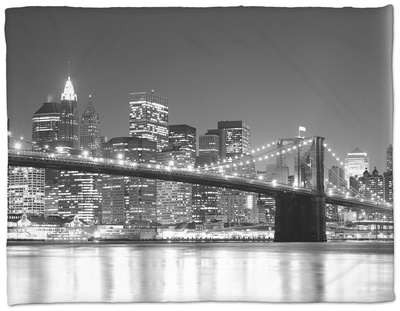 NY - Towers and Spot Lights Fleece Blanket by Jerry Driendl