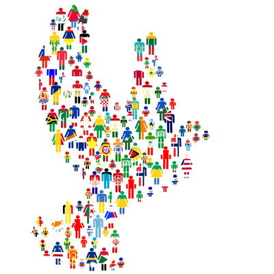 Peace Concept with Dove Made of Patterned People in World Flags Posters by  hibrida13