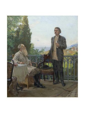 Maxim Gorky Visiting Leo Tolstoy in Gaspra on 1902 Giclee Print by Alexey Ignatyevich Kirillov