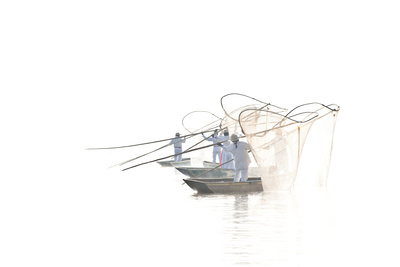 Mexico, Lake Patzcuaro. Butterfly Fisherman Casting Nets Photographic Print by Jaynes Gallery