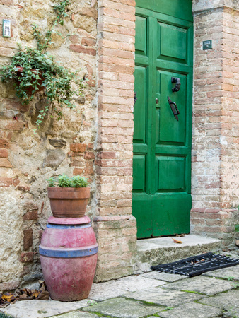 Italy, Tuscany, Monticchiello. Bright Green Door Photographic Print by Julie Eggers