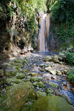 Diamond Waterfall, Diamond Botanical Gardens, St. Lucia, West Indies Photographic Print by Susan Degginger