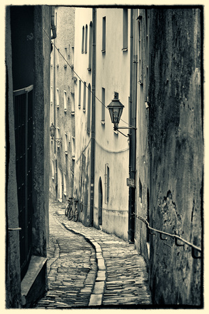 Passau, Germany, Narrow Alleyway of Historic Village, Vintage Look Photographic Print by Sheila Haddad