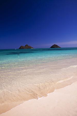 USA, Hawaii, Oahu, Lanikai Twin Mokulua Islands with Blue Water Photographic Print by Terry Eggers