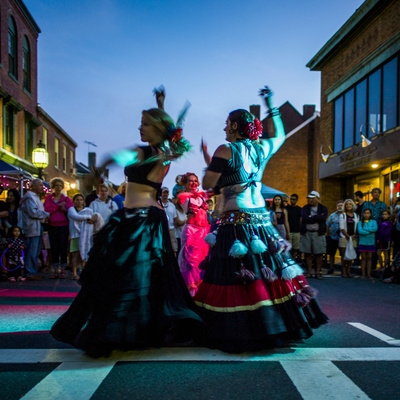 Massachusetts, Gloucester Downtown Block Party, Belly Dancers Photographic Print by Walter Bibikow
