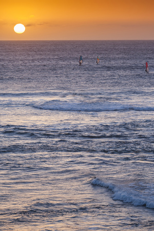 Southwest Australia, Prevelly, Surfers Point, Windsurfers, Dusk Photographic Print by Walter Bibikow