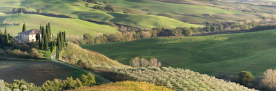 Italy, Tuscany, San Quirico Dorcia. Scenic View of Il Belvedere House Photographic Print by Julie Eggers
