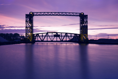Sunset, Bridge and Two Lighthouses Photographic Print by  benkrut