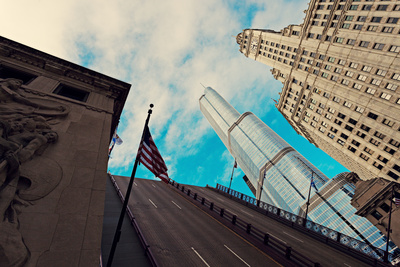 Michigan Avenue Bridge, Wrigley Building and Trump Tower Photographic Print by  benkrut