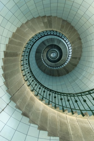 Looking Up the Spiral Staircase of the Lighthouse Stampa fotografica di  Design Pics Inc