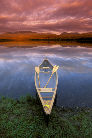 Canoe on Otter Lake Evening Light Southcentral Alaska Summer Scenic Photographic Print by  Design Pics Inc